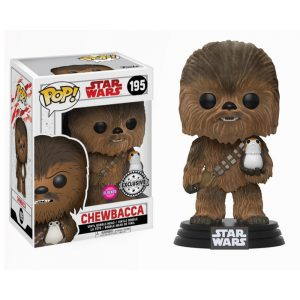 Chewbacca with Porg Flocked Funko Pop