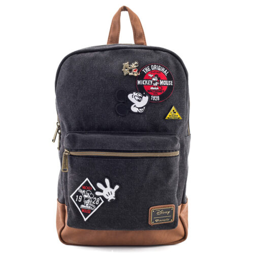 Mickey Patches Denim Backpack Loungefly
