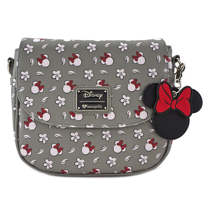 Minnie Mouse Flower Grey Crossbody Bag Loungefly